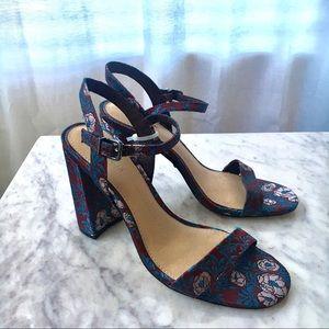 NWT Gianni Bini Jacquard Block Heels Blue Size 8.5